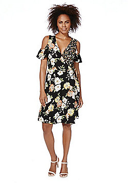 F&F Mixed Floral Print Cold Shoulder Wrap Dress - Multi