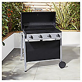 Tesco Barrel 4 Burner Gas BBQ, with Cover