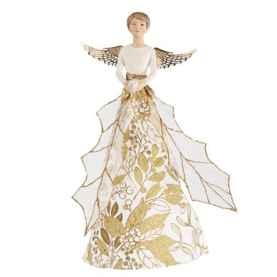 Gold & Cream Holly Angel Christmas Tree Topper - Large