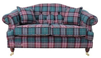Victoria 2 Seater Chesterfield Threshfield Jade Check Tweed Wool Sofa