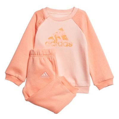adidas Logo Sports Infant Kids Girls Tracksuit Set Peach - 18-24 Months