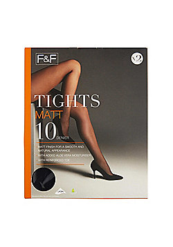 F&F 2 Pack of Matt 10 Denier Tights with Lycra® - Black
