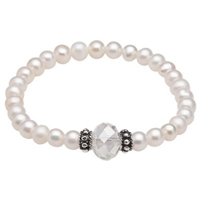 Cream Pearl Stretch Bracelet with Clear Glass Bead