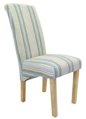 Monza Set/2 Tall Back Dining Chair-Blue Stripe
