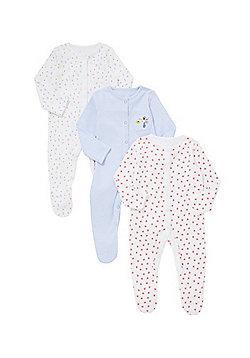 F&F 3 Pack of Little Garden Sleepsuits - Multi