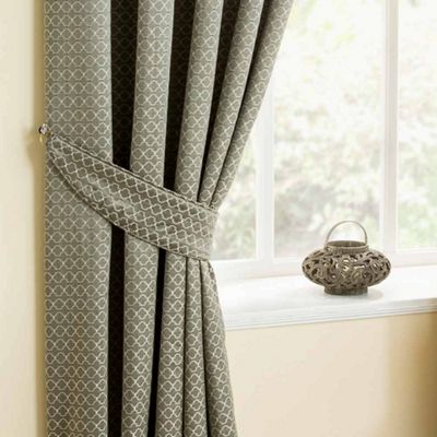 Homescapes Silver Diamond Pattern Tieback Pair for Matching Curtains