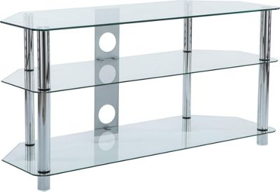 stealth mounts 1000mm clear glass and silver legs tv stand for tvs up to 50 inch