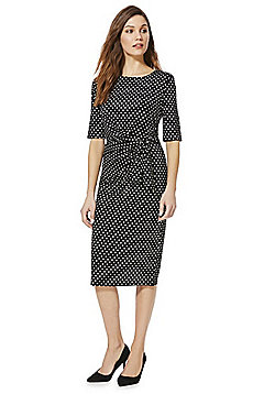 Izabel London Polka Dot Knot Front Midi Dress - Black & White