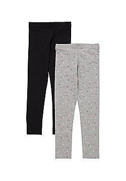 F&F 2 Pack of Glitter Heart and Plain Leggings - Black & Grey