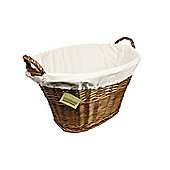 Woodluv Dark Brown Willow Storage Basket With White Lining