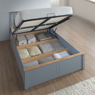 Happy Beds Phoenix Wood Ottoman Storage Bed with Pocket Spring Mattress - Stone Grey - 4ft6 Double