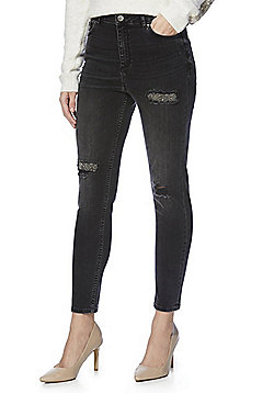 F&F Embellished Rip and Repair Mid Rise Skinny Jeans - Washed black