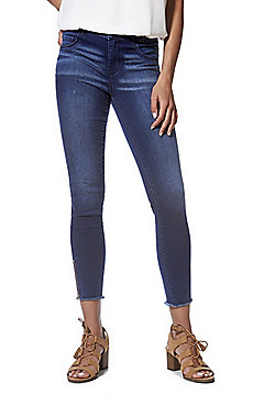 JDY Frayed Zip Ankle Skinny Jeans - Dark blue