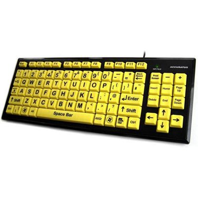 Accuratus Monster 2 High Visibility Upper Case USB Learning Keyboard with Extra Large Yellow Keys and 2 Port USB 2.0 Hub