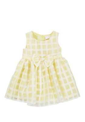 F&F Gingham Organza Occasion Dress Yellow/White 3-6 months