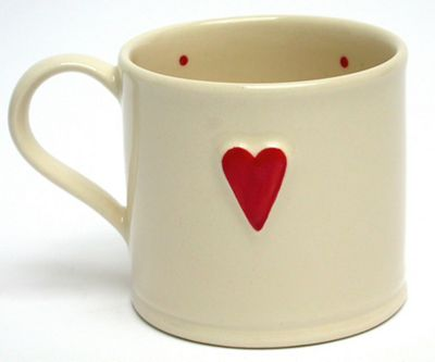 Deliverance Country Pottery Single 150ml Shaker Style Mug, Red Heart