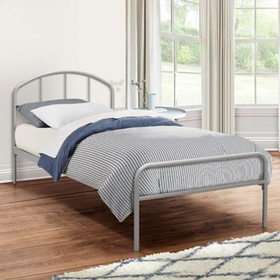 Happy Beds Tokyo Metal Bed with Open Coil Spring Mattress - Silver - 3ft Single
