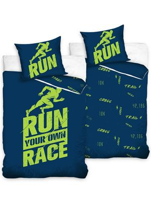 Runners Single Duvet Cover Set Cotton - Blue and Green