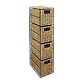 Woodluv 4 Drawer Seagrass Tower Storage Unit