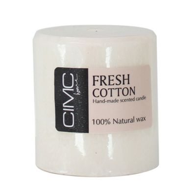 Stylish Fresh Calming Cotton Scented Small Pillar White Wax Candle