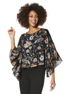 Izabel London Peacock Print Kimono Top 14 Black