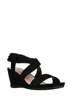 F&F Sensitive Sole Faux Suede Low Wedge Sandals - Black
