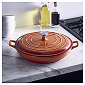 Go Cook Cast Iron Shallow Casserole Dish 3.38L Orange