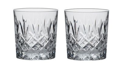 Royal Scot Crystal Edinburgh Set of 2 Large Crystal 33cl Whisky Tumblers EDB2LT