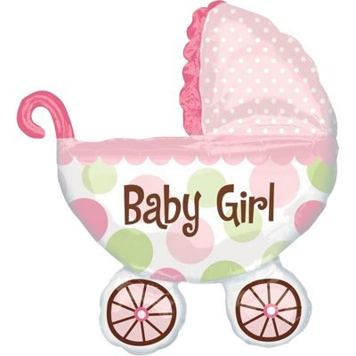 Baby Buggy Girl Supershape Balloon - 31 inch Foil