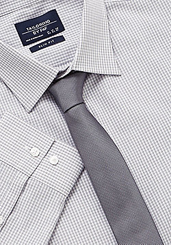 F&F Slim Fit Long Sleeve Shirt With Tie - Grey