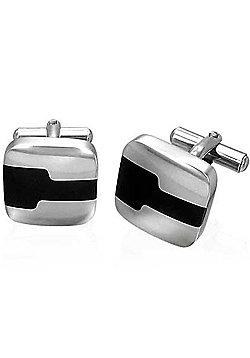 Urban Male Stainless Steel & Black Resin Cufflinks