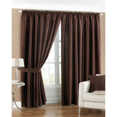 Riva Home Fiji Faux Silk Chocolate Pencil Pleat Curtains - 66x54 Inches (168x137cm)