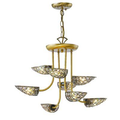 Ashton Pendant 8 Light Antique Brass/Crystal