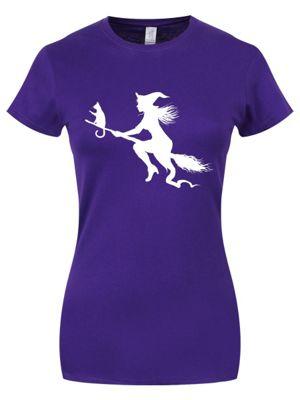 Witch Silhouette Halloween Purple Women's T-shirt