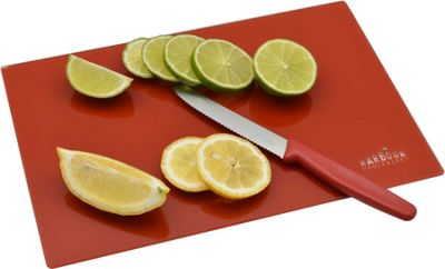 Harbour Housewares Glass Kitchen Chopping Board - Red - (300mm x 200mm)