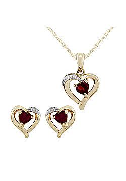 Gemondo 9ct Yellow Gold Garnet & Diamond Heart Earrings & 45cm Necklace Set