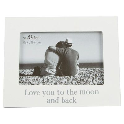 love you to the moon back photo frame