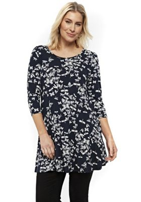 Evans Butterfly Print Plus Size Tunic Navy 22-24