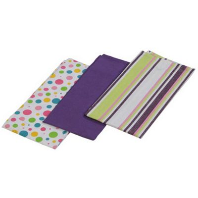Homescapes Cotton Purple Tea Towels Set Of Three