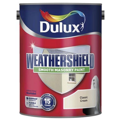 Dulux Weathershield Smooth Masonry Paint, Classic Cream, 5L