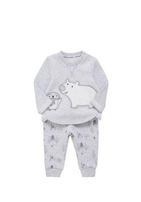 F&F Polar Bear and Penguin Sweatshirt and Joggers Set Newborn Grey