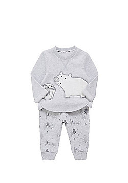 F&F Polar Bear and Penguin Sweatshirt and Joggers Set - Grey