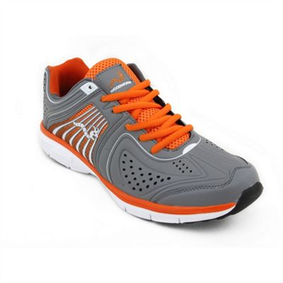 Woodworm Sports Flame Mens Running Shoes / Trainers Grey/Orange Size 7