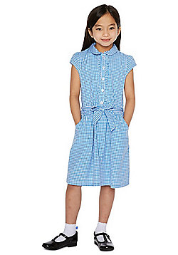 F&F School Cotton Gingham Dress with Scrunchie - Blue