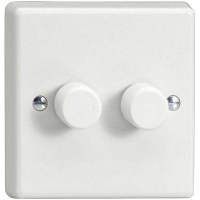 Varilight V-Pro 2x250W 2 Gang 2 Way Dimmer Switch - White