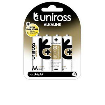 Uniross U0214698 AA LR6 Alkaline Batteries 4-Pack