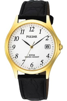 Pulsar Gents Leather Strap Watch PXH566X1