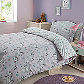Magical Unicorns Quilt Cover with Pillow Case Bedding Set - Lilac