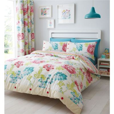 Catherine Lansfield Stab Stitch Floral Multi Duvet Cover Set - Single
