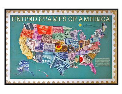 Smithsonian Institution Gloss Black Framed United Stamps Of America Poster